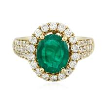 14KT Yellow Gold 2.35 ctw Emerald and Diamond Ring