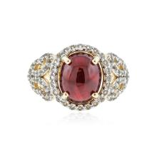 PLATED SILVER 5.72 ctw Ruby and White Topaz Ring