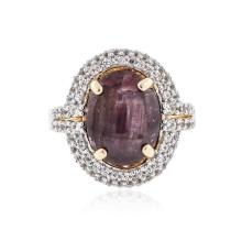 SILVER 8.92 ctw Ruby and White Sapphire Ring