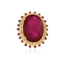 14KT Yellow Gold 33.44 ctw Ruby and Diamond Ring
