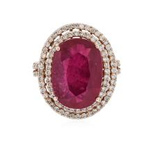 14KT Rose Gold 9.04 ctw Ruby and Diamond Ring