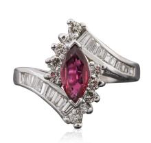14KT White Gold 0.71 ctw Ruby and Diamond Ring