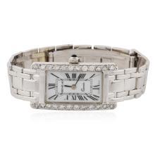 Ladies Geneve 14KT White Gold 1.07 ctw Diamond Wristwatch