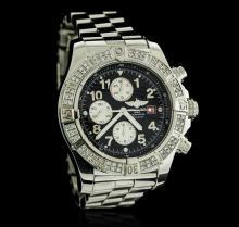 Gents Breitling Stainless Steel Super Avenger Diamond Wristwatch