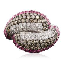14KT White Gold 2.46 ctw Ruby and Diamond Ring