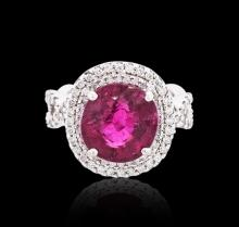 18KT White Gold 6.08 ctw Rubellite and Diamond Ring