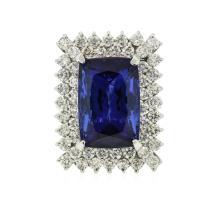 14KT White Gold GIA Certified 17.10 ctw Tanzanite and Diamond Ring