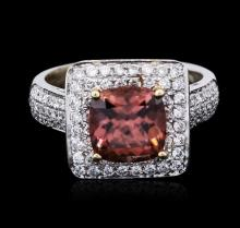 14KT Two-Tone Gold 2.19 ctw Morganite and Diamond Ring