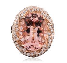 14KT Rose Gold 12.12 ctw Morganite and Diamond Ring