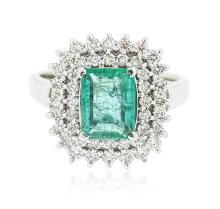 14KT White Gold 1.20 ctw Emerald and Diamond Ring