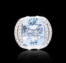14KT White Gold 22.00 ctw Aquamarine and Diamond Ring