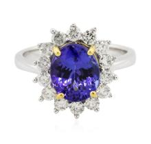 14KT Two-Tone Gold 2.51 ctw Tanzanite and Diamond Ring