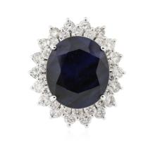 14KT White Gold 11.66 ctw Sapphire and Diamond Ring