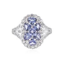 SILVER 1.48 ctw Tanzanite and White Sapphire Ring