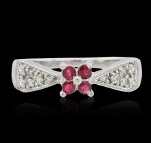 18KT White Gold 0.25 ctw Ruby and Diamond Ring