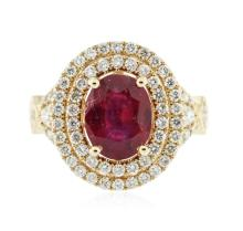 14KT Yellow Gold 3.06 ctw Ruby and Diamond Ring