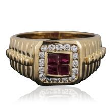14KT Yellow Gold 0.40 ctw Ruby and Diamond Ring