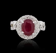 14KT White Gold GIA Certified 3.84 ctw Ruby and Diamond Ring