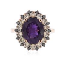 14KT Rose Gold 3.68 ctw Amethyst & Diamond Ring