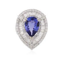 18KT White Gold 4.81 ctw Tanzanite and Diamond Ring