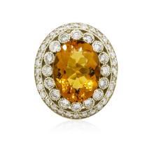 14KT White Gold 15.39 ctw Citrine and Diamond Ring