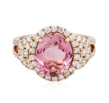 14KT Rose Gold 3.08 ctw Tourmaline and Diamond Ring