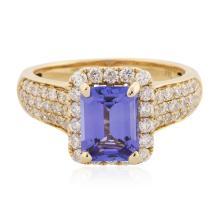 14KT Yellow Gold 2.07 ctw Tanzanite and Diamond Ring