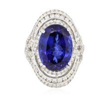 18KT White Gold GIA Certified 15.73 ctw Tanzanite and Diamond Ring