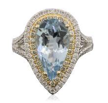 14KT Two-Tone Gold 3.04 ctw Aquamarine and Diamond Ring
