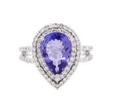 14KT White Gold 3.01 ctw Tanzanite and Diamond Ring