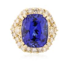 14KT Yellow Gold 14.67 ctw GIA Cert Tanzanite and Diamond Ring