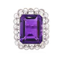 14KT White Gold 11.15 ctw Amethyst and Diamond Ring