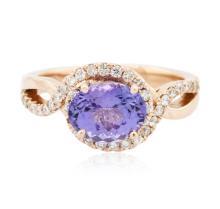 14KT Rose Gold 2.03 ctw Tanzanite and Diamond Ring