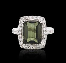 14KT White Gold 6.29 ctw Tourmaline and Diamond Ring