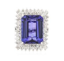 14KT White Gold GIA Certified 30.18 ctw Tanzanite and Diamond Ring