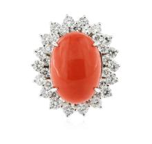14KT White Gold 8.76 ctw Red Coral and Diamond Ring