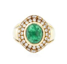18KT Yellow Gold 2.63 ctw Emerald and Diamond Ring