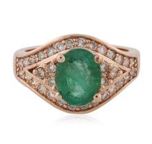 14KT Rose Gold 1.54 ctw Emerald and Diamond Ring