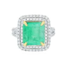 14KT Two-Tone Gold 5.80 ctw Emerald and Diamond Ring