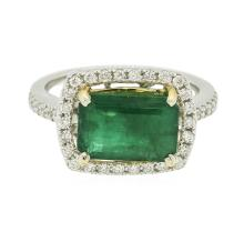 14KT Two-Tone Gold 2.77 ctw Emerald and Diamond Ring