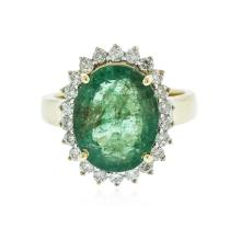 14KT Yellow Gold 5.26 ctw Emerald and Diamond Ring