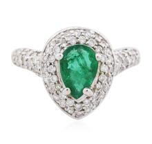 18KT White Gold 0.98 ctw Emerald and Diamond Ring