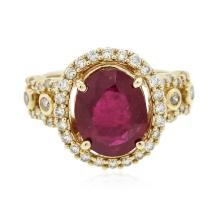 14KT Yellow Gold 3.24 ctw Ruby and Diamond Ring
