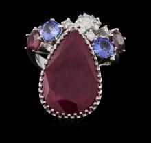 14KT White Gold 13.09 ctw Ruby, Tanzanite and Diamond Ring