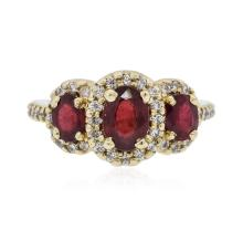14KT Yellow Gold 2.18 ctw Ruby and Diamond Ring