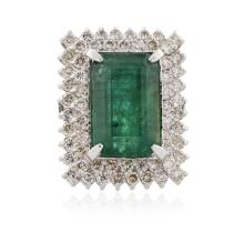 14KT White Gold 14.37 ctw Emerald and Diamond Ring