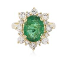 14KT Yellow Gold 2.08 ctw Emerald and Diamond Ring