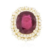 14KT Yellow Gold 12.91 ctw Ruby and Diamond Ring