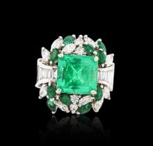 18KT White Gold 5.80 ctw Emerald and Diamond Ring