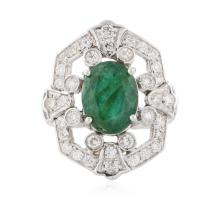 14KT White Gold 3.29 ctw Emerald and Diamond Ring